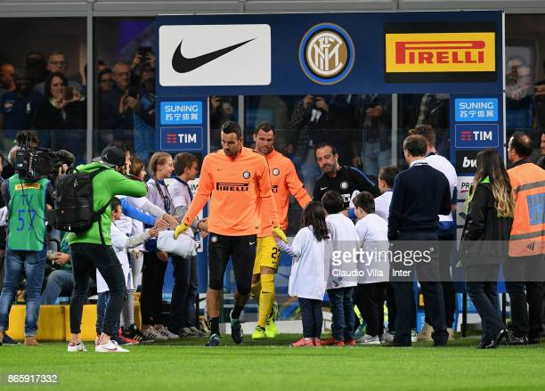 Samir Handanovic of FC Internazionale walk out onto the pitch before the Serie A match between FC Internazionale and UC Sampdoria at Stadio Giuseppe...