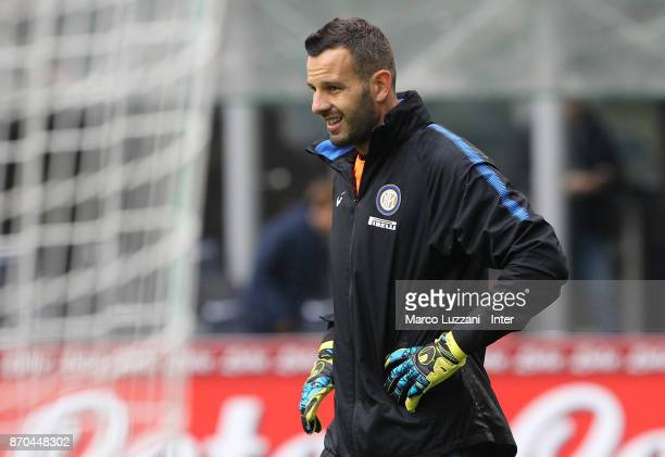 Samir Handanovic of FC Internazionale warms up ahead of the Serie A match between FC Internazionale and Torino FC at Stadio Giuseppe Meazza on...