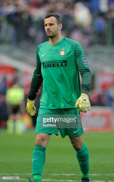 Samir Handanovic of Inter during the Serie A match between FC Internazionale and Atalanta at Stadio Giuseppe Meazza on March 12 2017 in Milan Italy