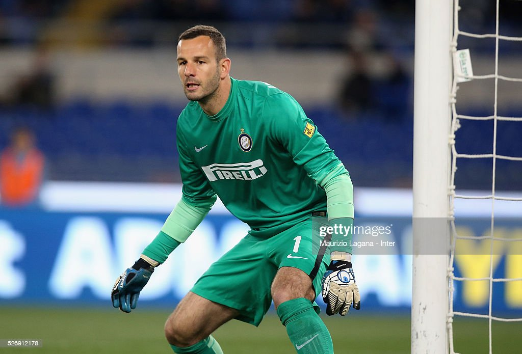 Samir Handanovic of Inter during the Serie A match between SS Lazio and FC Internazionale Milano at Stadio Olimpico on May 1, 2016 in Rome, Italy.