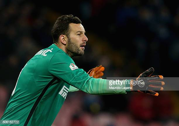 Samir Handanovic of Inter during the TIM Cup match between SSC Napoli and FC Internazionale Milano at Stadio San Paolo on January 19 2016 in Naples...