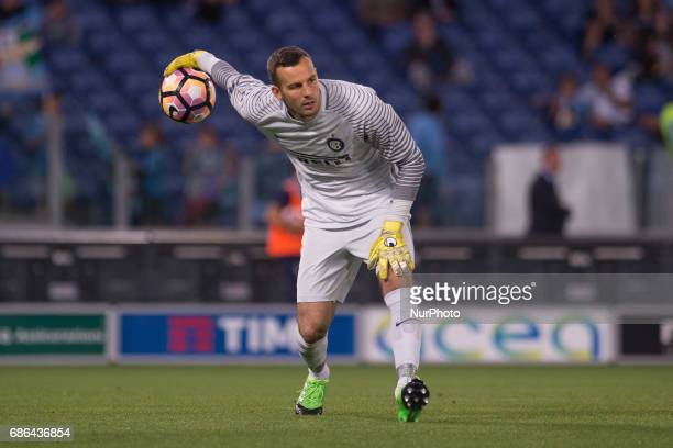 Samir Handanovic of Internazionale during the Serie A match between Lazio v Internazionale on May 21 2017 in Rome Italy