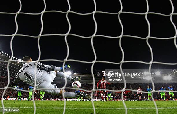 Samir Handanovic of Internazionale saves a penalty from Dusan Tadic of Southampton during the UEFA Europa League Group K match between Southampton FC...