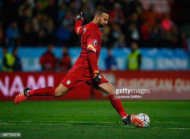 Samir Handanovic of Slovenia in action during the UEFA EURO 2016 qualifier playoff second leg match between Slovenia and Ukraine at Ljudski Vrt...