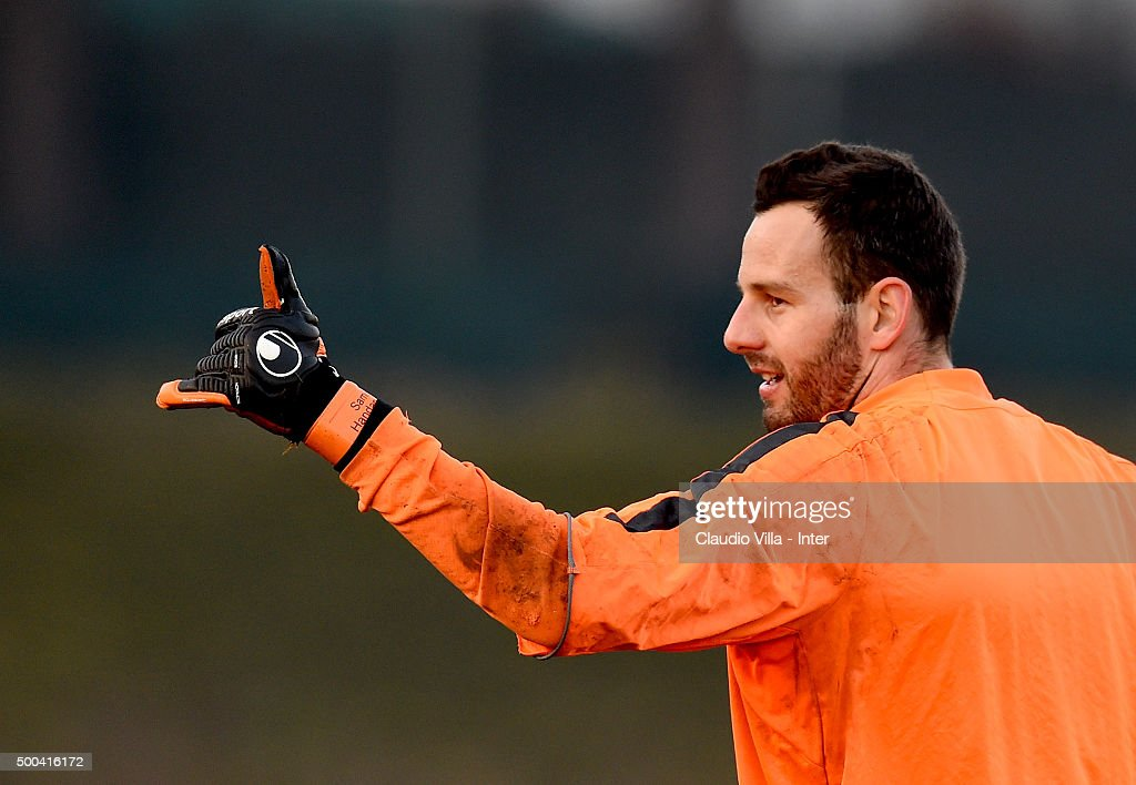 Samir Handanovic reacts during the FC Internazionale training session at the club's training ground at Appiano Gentile on at Appiano Gentile on December 08, 2015 in Como, Italy.