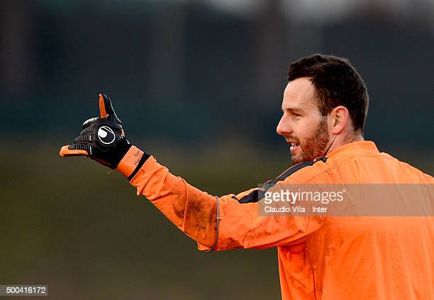 Samir Handanovic reacts during the FC Internazionale training session at the club's training ground at Appiano Gentile on at Appiano Gentile on...