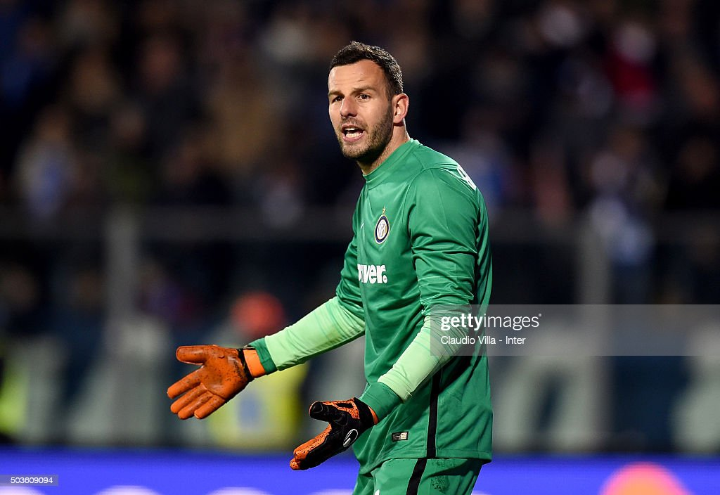 Samir Handanovic reacts during the Serie A match between Empoli FC and FC Internazionale Milano at Stadio Carlo Castellani on January 6, 2016 in Empoli, Italy.
