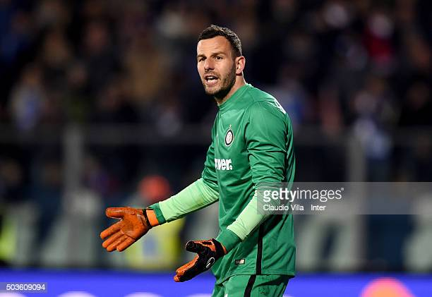 Samir Handanovic reacts during the Serie A match between Empoli FC and FC Internazionale Milano at Stadio Carlo Castellani on January 6 2016 in...