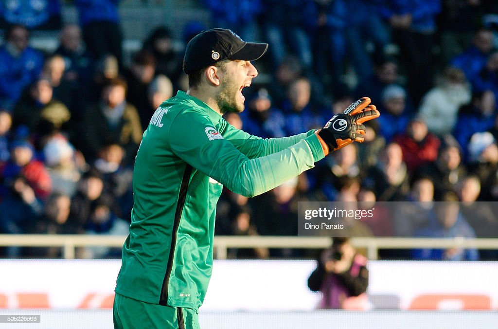 Samir Handanovich goalkeeper or FC Internazionale Milano reacts during the Serie A match between Atalanta BC and FC Internazionale Milano at Stadio Atleti Azzurri d'Italia on January 16, 2016 in Bergamo, Italy.