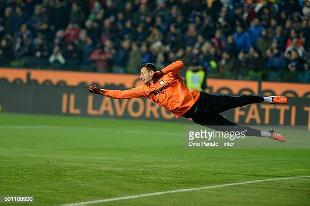 Samir Handanovich goalkeeper or FC Internazionale Milano warms up before the Serie A match betweeen Udinese Calcio and FC Internazionale Milano at...