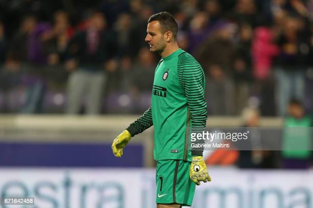 Samir Handanovich of FC Internazionale reacts during the Serie A match between ACF Fiorentina v FC Internazionale at Stadio Artemio Franchi on April...