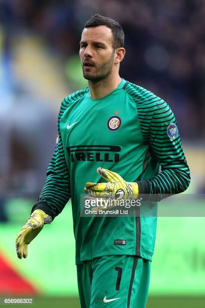 Samir Handonovic of FC Internazionale looks on during the Serie A match between FC Internazionale and Atalanta BC at Stadio Giuseppe Meazza on March...