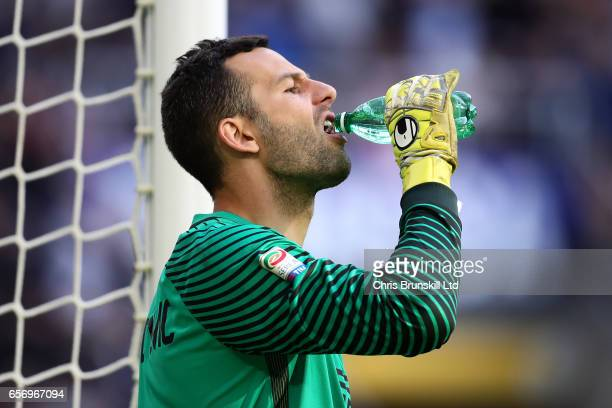 Samir Handonovic of FC Internazionale takes a drink during the Serie A match between FC Internazionale and Atalanta BC at Stadio Giuseppe Meazza on...