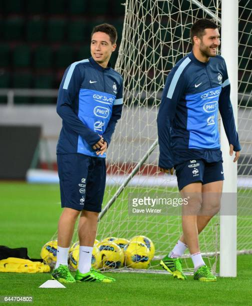 Samir NASRI / Andre Pierre GIGNAC Football Entrainement France avant le match contre la GeorgieTbilissi Photo Dave Winter / Icon Sport