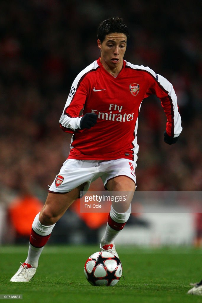 Samir Nasri of Arsenal in action during the UEFA Champions League Group H match between Arsenal and AZ Alkmaar at the Emirates Stadium on November 4...
