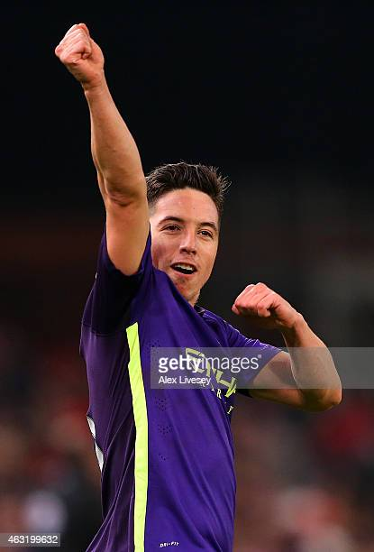 Samir Nasri of Manchester City celebrates after scoring his team's fourth goal during the Barclays Premier League match between Stoke City and...