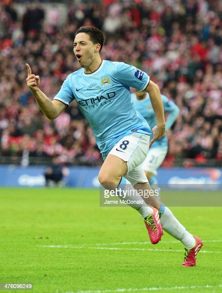Samir Nasri of Manchester City celebrates his goal during the Capital One Cup Final between Manchester City and Sunderland at Wembley Stadium on...