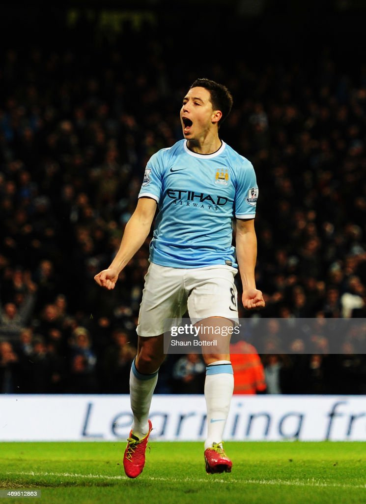 Samir Nasri of Manchester City celebrates scoring during the FA Cup Fifth Round match between Manchester City and Chelsea at the Etihad Stadium on February 15, 2014 in Manchester, England.
