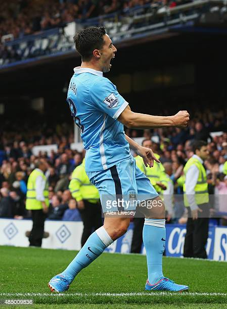 Samir Nasri of Manchester City celebrates scoring his team's second goal during the Barclays Premier League match between Everton and Manchester City...