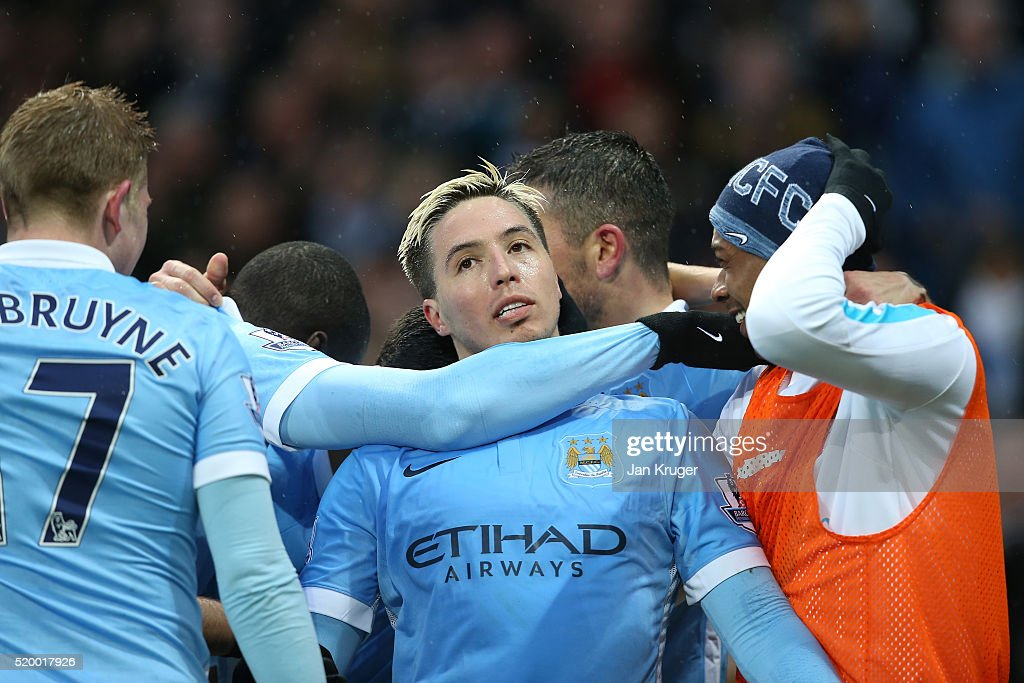 Samir Nasri of Manchester City celebrates scoring his team's second goal with team mates during the Barclays Premier League match between Manchester City and West Bromwich Albion at the Etihad Stadium on April 9, 2016 in Manchester, England.