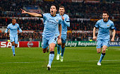 Samir Nasri of Manchester City celebrates scoring the first goal during the UEFA Champions League Group E match between AS Roma and Manchester City...