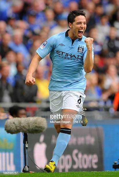 Samir Nasri of Manchester City celebrates scoring the opening goal during the FA Cup with Budweiser Semi Final match between Chelsea and Manchester...