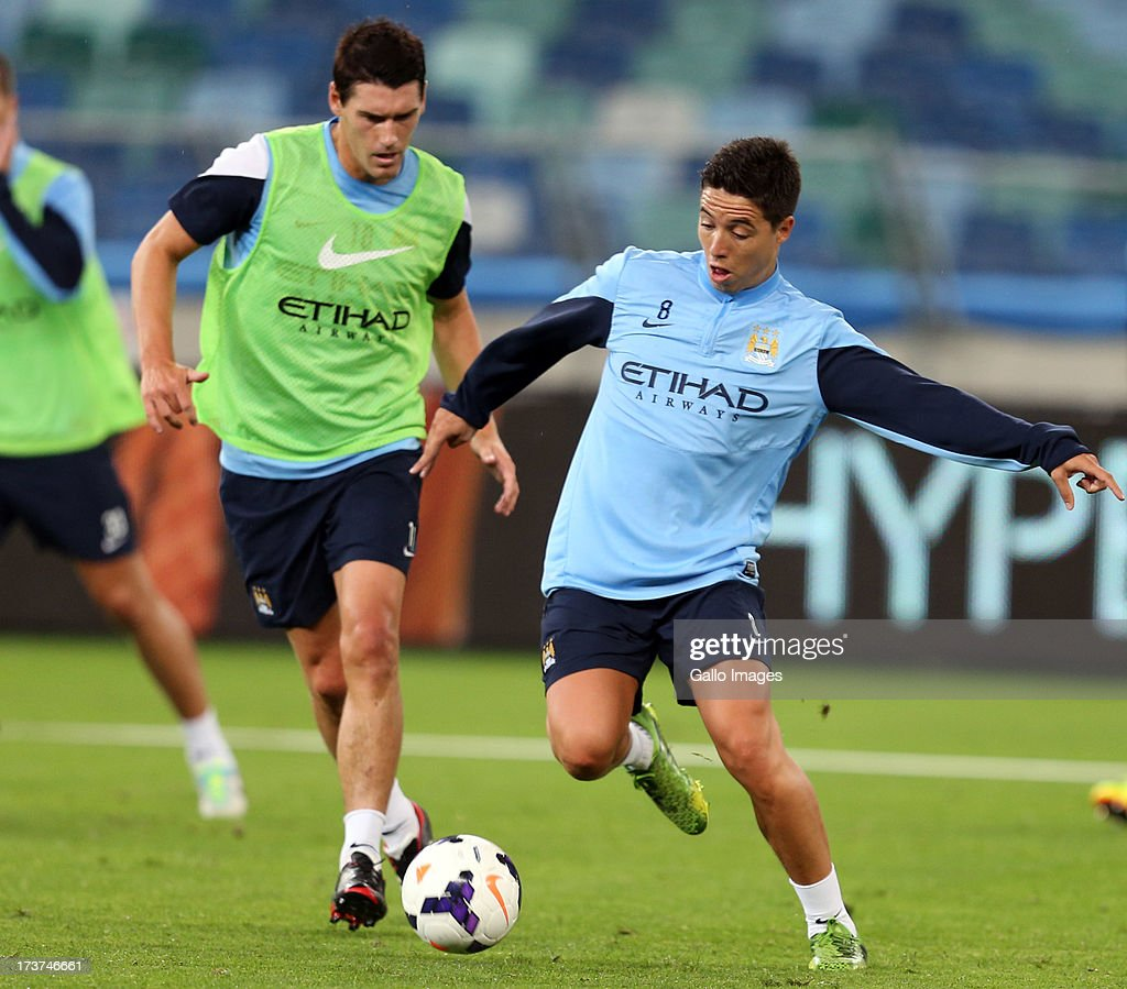 Samir Nasri of Manchester City during the Manchester City training session at Moses Mabhida Stadium on July 17, 2013 in Durban, South Africa.