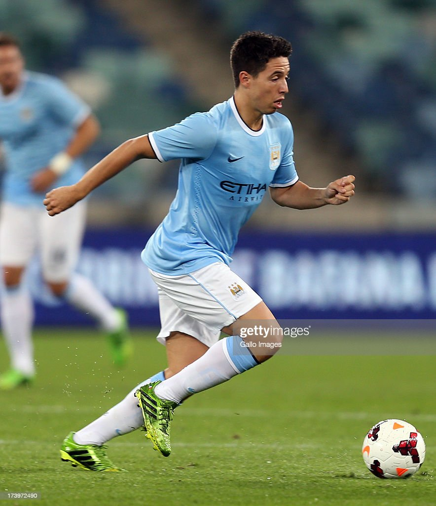 Samir Nasri of Manchester City during the Nelson Mandela Football Invitational match between AmaZulu and Manchester City at Moses Mabhida Stadium on July 18, 2013 in Durban, South Africa.