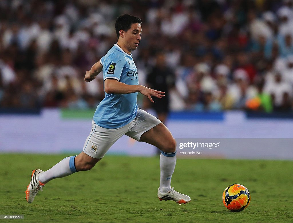 Samir Nasri of Manchester City in action during the friendly match between Al Ain and Manchester City at Hazza bin Zayed Stadium on May 15, 2014 in Al Ain, United Arab Emirates.