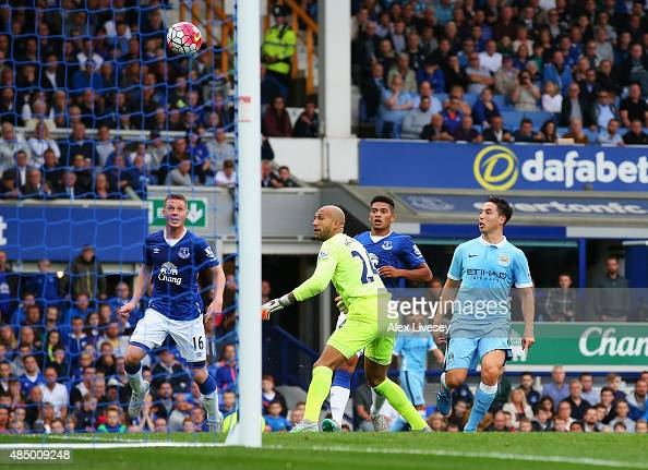 Samir Nasri of Manchester City scores his team's second goal during the Barclays Premier League match between Everton and Manchester City at Goodison...