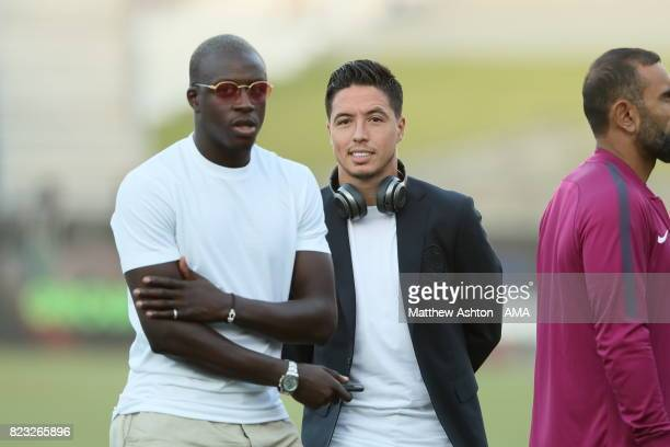 Samir Nasri of Manchester City with new signing Benjamin Mendy prior to the International Champions Cup 2017 match between Manchester City and Real...