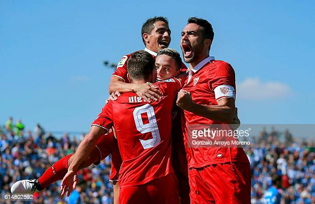 Samir Nasri of Sevilla FC celebrates scoring their second goal with teammates during the La Liga match between CD Leganes and Sevilla FC at Estadio...