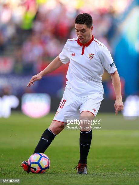 Samir Nasri of Sevilla FC controls the ball during the La Liga match between Club Atletico de Madrid and Sevilla FC at Vicente Calderon stadium on...