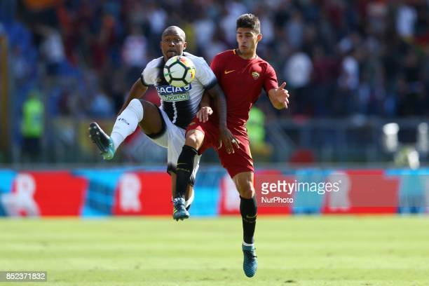 Samir of Udinese and Diego Perotti of Roma during the Italian Serie A football match between AS Roma and Udinese on September 23 2017 at the Olympic...