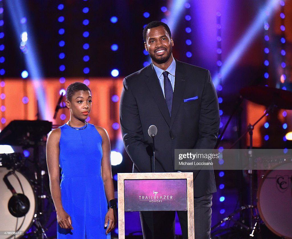 Samira Wiley and Former NBA player Jason Collins speak onstage at Logo's 'Trailblazer Honors' 2015 at the Cathedral of St John the Divine on June 25...