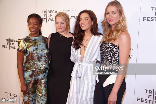 Samira Wiley Elisabeth Moss Reed Morano and Yvonne Strahovski attend 'The Handmaid's Tale' Premiere 2017 Tribeca Film Festival at BMCC Tribeca PAC on...