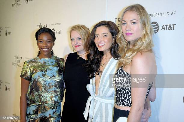 Samira Wiley Elisabeth Moss Reed Morano and Yvonne Strahovski attend 'The Handmaid's Tale' screening during 2017 Tribeca Film Festival at BMCC...