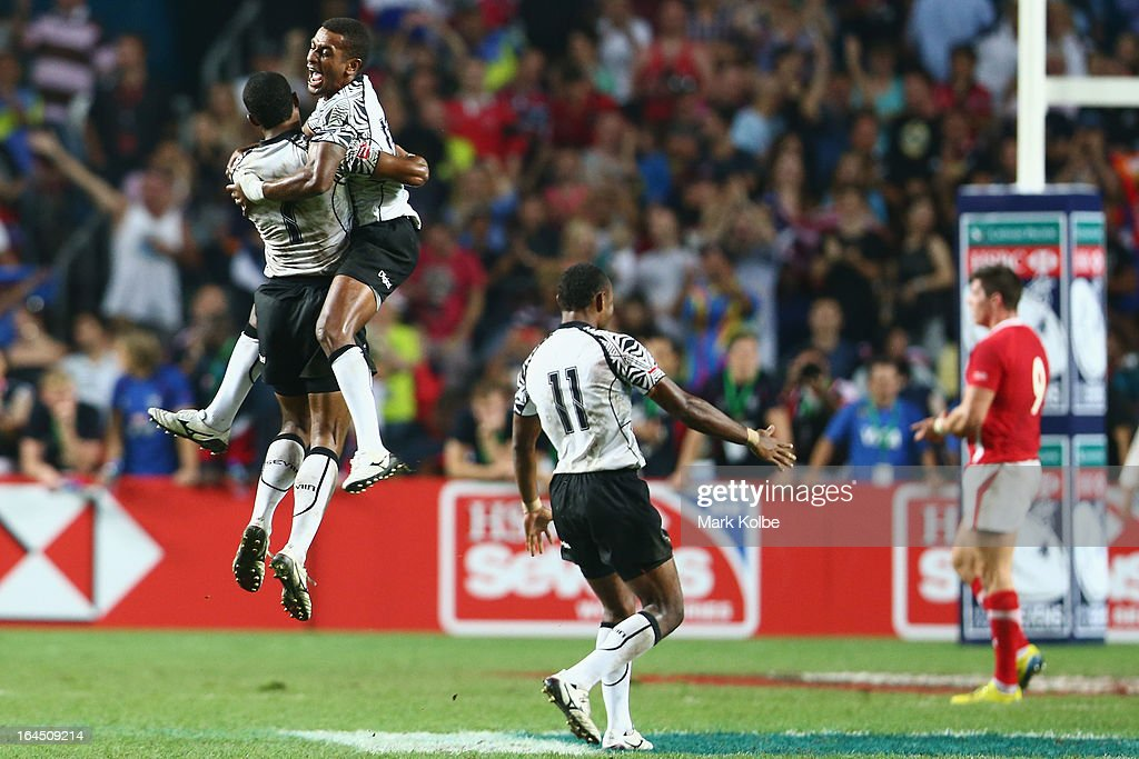 Samisoni Viriviri and Emosi Mulevoro of Fiji celebrate after winning the cup final match between Fiji and Wales during day three of the 2013 Hong Kong Sevens at Hong Kong Stadium on March 24, 2013 in So Kon Po, Hong Kong.