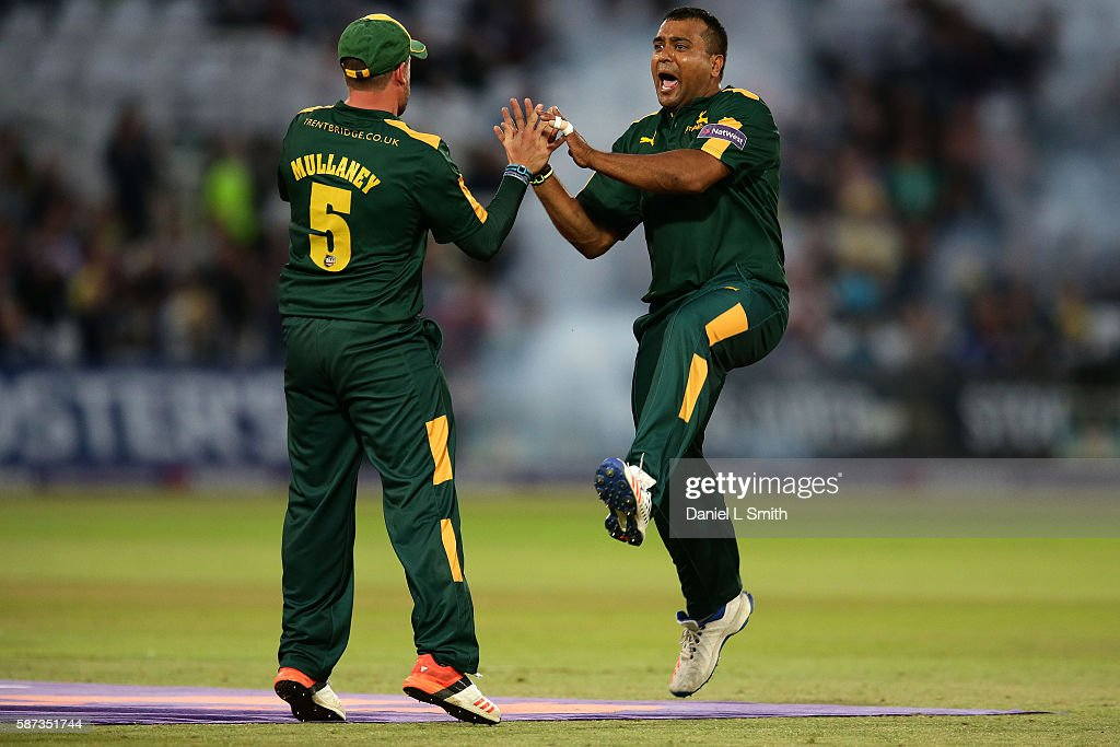 Samit Patel and Steven Mullaney of Notts celebrates the dismissal of Asher Zaidi of Essex during the NatWest T20 Blast match between Notts Outlaw and...