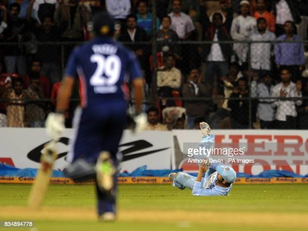 Samit Patel is caught by Gautam Gambhir during the Fourth One Day International at M Chinnaswamy Stadium Bangalore India