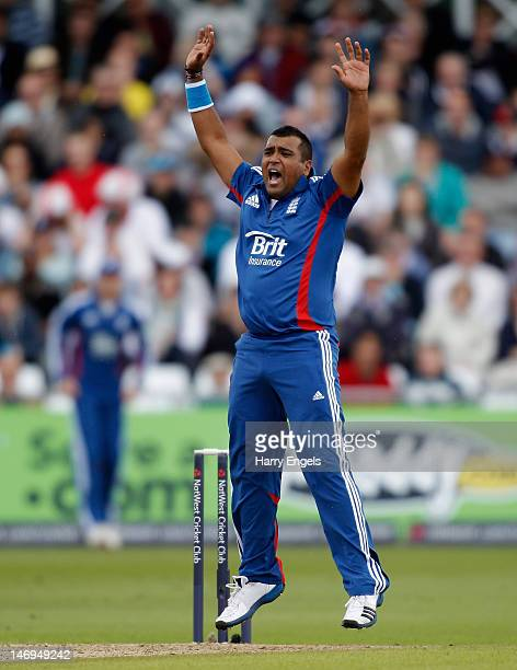Samit Patel of England appeals in vain for a wicket during the NatWest International T20 match between England and the West Indies at Trent Bridge on...