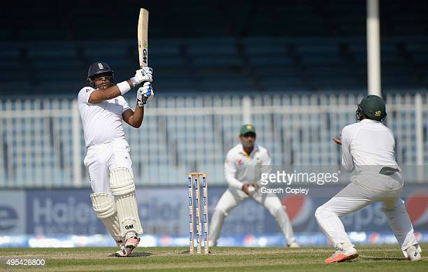 Samit Patel of England bats during day three of the 3rd Test between Pakistan and England at Sharjah Cricket Stadium on November 3 2015 in Sharjah...