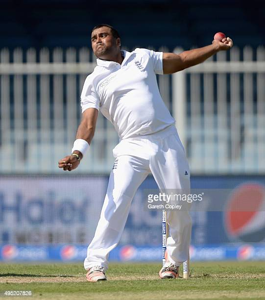 Samit Patel of England bowls during day one of the 3rd Test between Pakistan and England at Sharjah Cricket Stadium on November 1 2015 in Sharjah...