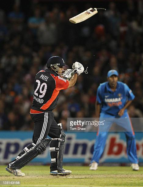 Samit Patel of England breaks his bat during the NatWest International Twenty20 Match between England and India at Old Trafford on August 31 2011 in...