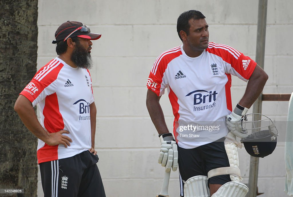 Samit Patel of England has a chat with spin bowling coach Mushtaq Ahmed during the England nets session at the P Sara Stadium on April 1 2012 in...