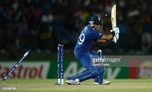Samit Patel of England is bowled by Lasith Malinga of Sri Lanka during the ICC World Twenty20 2012 Super Eights Group 1 match between Sri Lanka and...