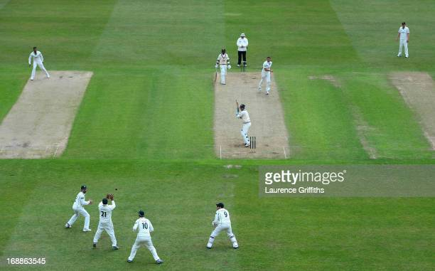 Samit Patel of Nottinghamshire catches Steven Davies of Surrey off the bowling of Paul Franks during day two of the LV County Championship division...