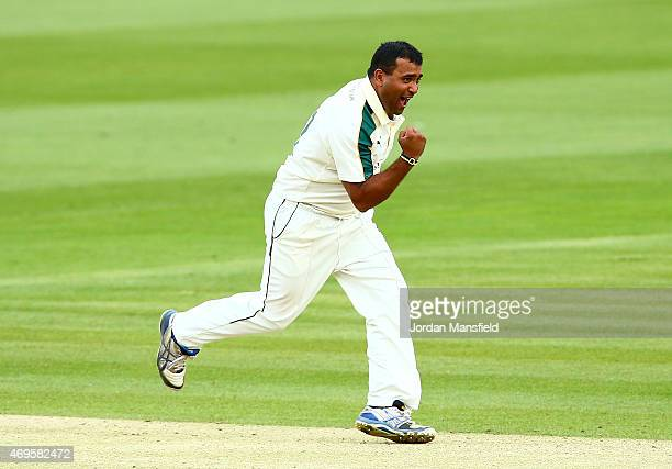 Samit Patel of Nottinghamshire celebrates after bowling out Tom Helm of Middlesex during day two of the LV County Championship Division One match...