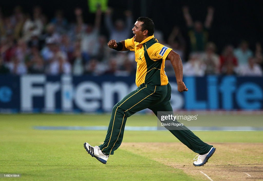 <a gi-track='captionPersonalityLinkClicked' href=/galleries/search?phrase=Samit+Patel&family=editorial&specificpeople=597936 ng-click='$event.stopPropagation()'>Samit Patel</a> of Nottinghamshire celebrates after taking the wicket of Sean Ervine during the Friends Life T20 match between Nottinghamshire and Hampshire at Trent Bridge on July 25, 2012 in Nottingham, England.