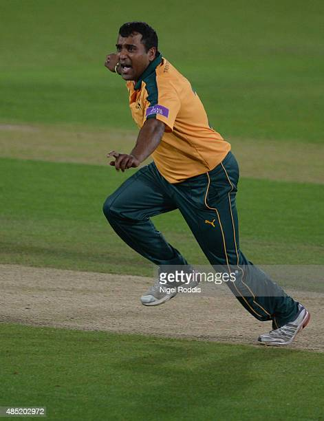 Samit Patel of Nottinghamshire celebrates after taking the wicket of Callum McLeod of Durham during the Royal London OneDay Cup Quarter Final between...